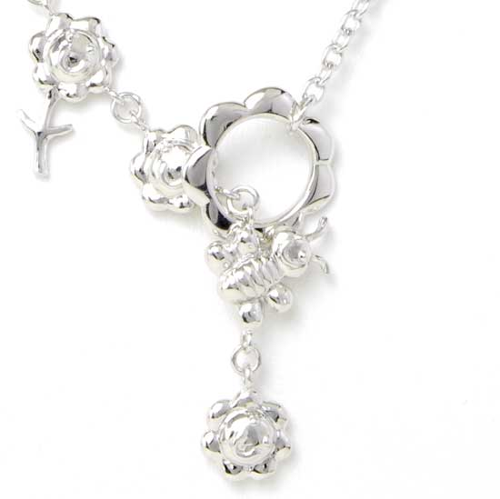 Sterling Silver Toggle Necklace - Bee and Flowers