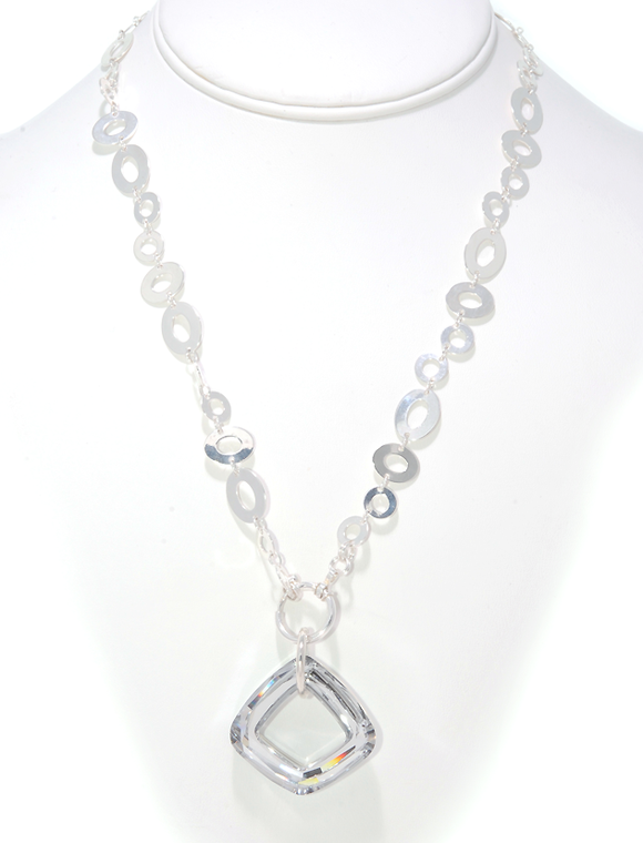 Sterling Silver Chain with Swarovski Crystal Pendant