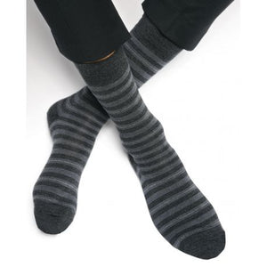 Wool Striped Socks - Charcoal Grey