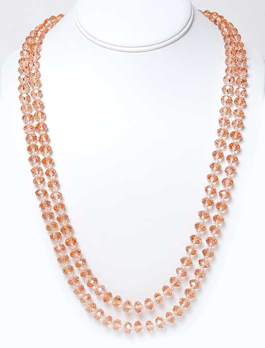 Ultra Long Peach Crystal Necklace