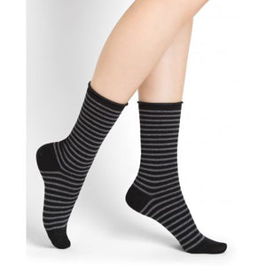 Striped Wool Sock with Rolled Edge