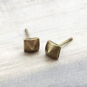 Burnish Brass Square Spike Stud Earring