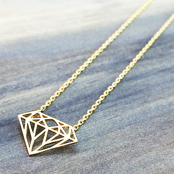 Gold Origami Diamond Necklace