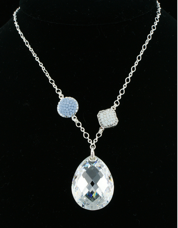Tear Shaped Crystal Pendant on Sterling Silver Chain