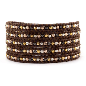 Mixed Nugget Wrap Bracelet on Brown Leather
