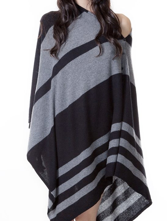 Pure Cashmere Poncho/Scarf in Red