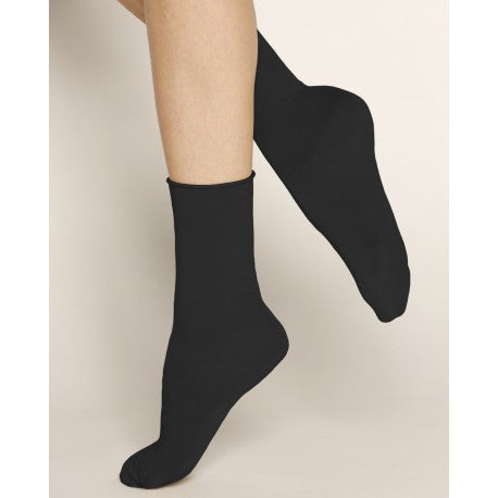 Velvet Cotton Ankle Socks - Black