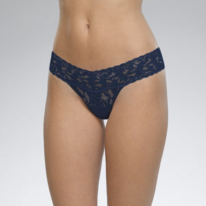Hanky Panky Low Rise Thong - Navy Blue with Crystals