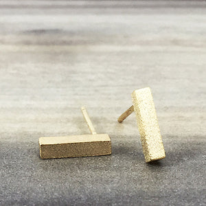 Gold Rectangle Stud Earring