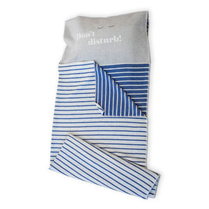 """Don't Disturb"" Sleeping Bag - Blue Stripes"