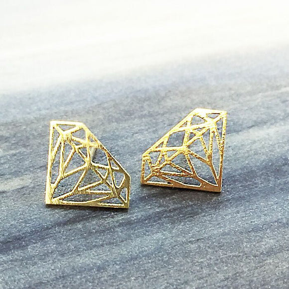 Gold Origami Diamond Earring