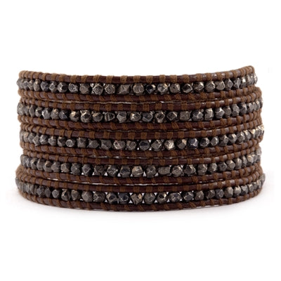 Gunmetal Wrap Bracelet on Brown Leather