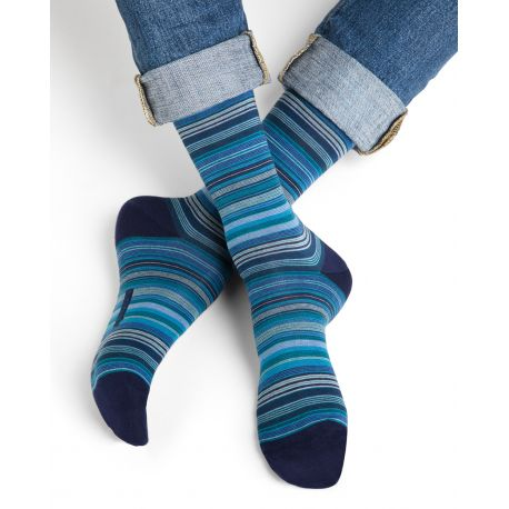 Finely Striped Cotton Men Socks - Navy