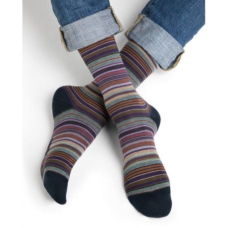 Finely Striped Cotton Men Socks - Toffee