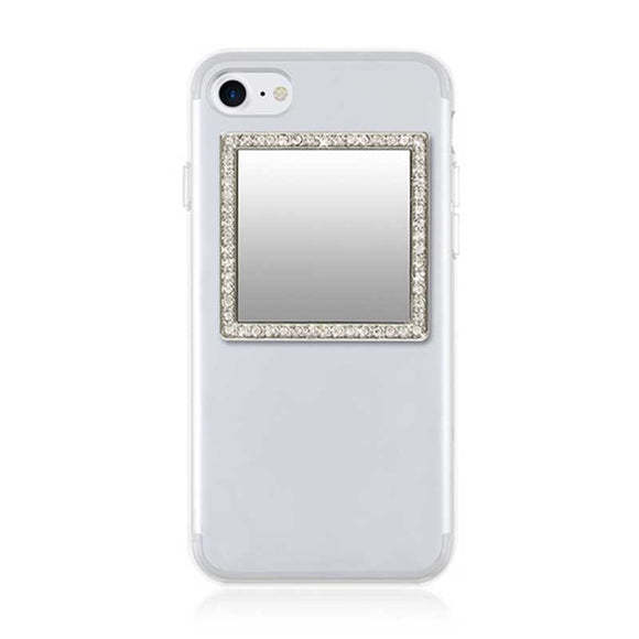 iDecoz Phone Mirror - Silver Square With Crystals
