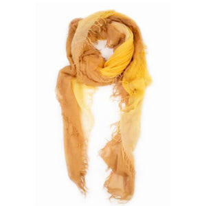 Brown Sugar/Mineral Yellow Cashmere & Silk Scarf