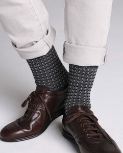 Cashmere Blend Mid-Calf Socks with Hemstitch Pattern - Flanel Grey