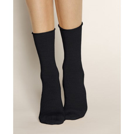 Roll Top Wool Socks - Black