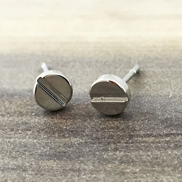 SIlver Flat Screw Stud Earring