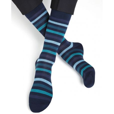 Striped Cotton Socks - Atlantic Blue