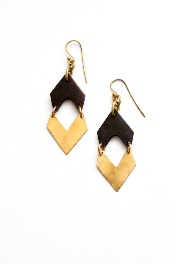 Small Brass and Horn Earrings