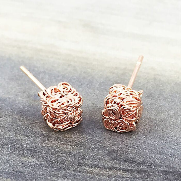 Pink Gold Textured Cube Earring