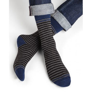 Cashmere & Wool Blue Striped Men Socks