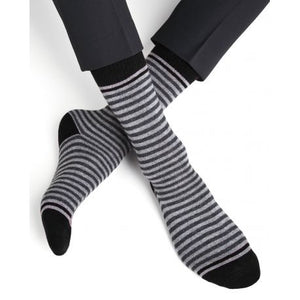 Cashmere and Wool Striped Socks - Black