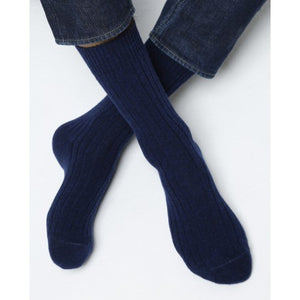 Cashmere & Wool Ribbed Amiral Blue Men Socks