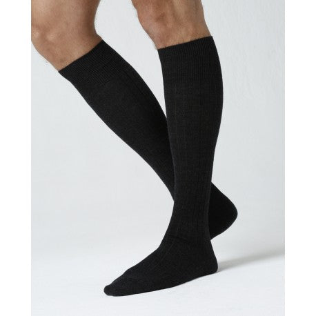 Merino Wool Solid Black Knee-high Socks