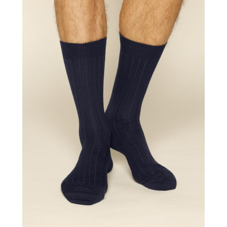 Plain Merino Wool Navy Blue Men Socks