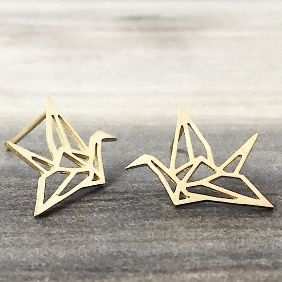 Gold Origami Crane Earrings