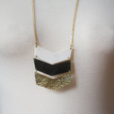 Gold and Black Three Tone Chevron Necklace