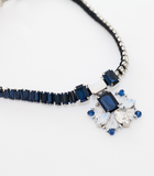 Dark Blue Mixed Crystal Statement Necklace