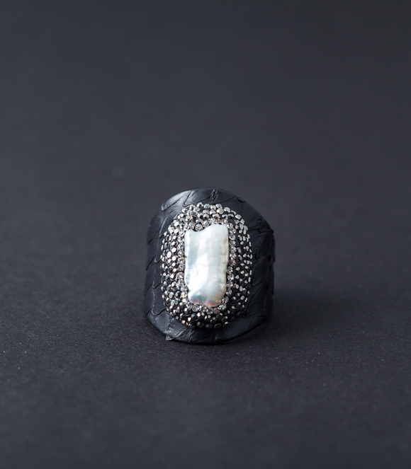 Black Leather Ring with Pearl