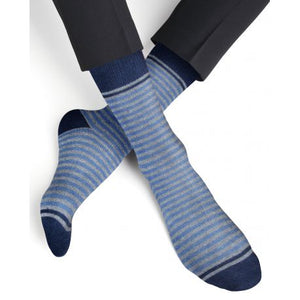 Cashmere and Wool Striped Socks - Amiral