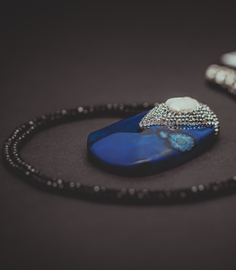 Blue Stone with Pearl Long Necklace