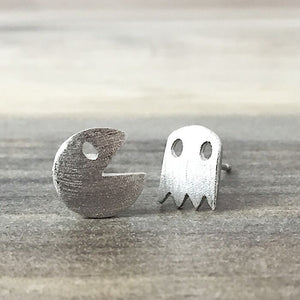 Silver Pacman Stud Earrings