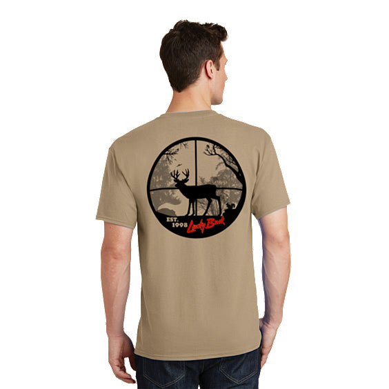 Lucky Buck Tan T-Shirt with Scope-view Screen Print