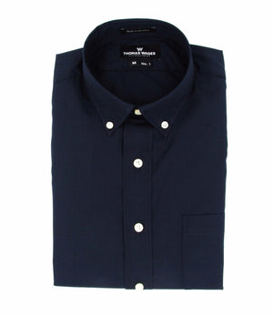 THOMAS WAGES Navy Broadcloth Button Down