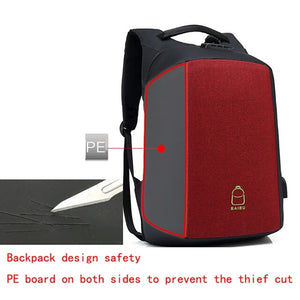 Password Anti-theft 15.6 Laptop Backpack USB Charging