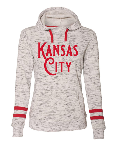 Kansas City - Women's Mélange Fleece Striped - Sleeve Hooded Sweatshirt