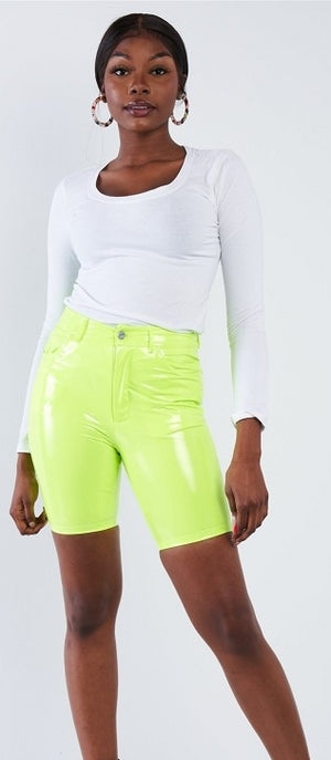KIM K. VEGAN LEATHER BIKER SHORTS