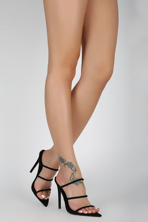 Triple Strap Open Pointy Toe Mule Heel