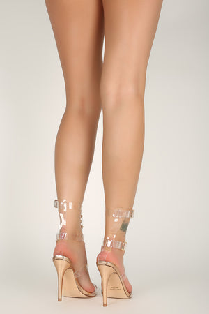 Show Stopper  |Transparent Caged Ankle Straps Heel