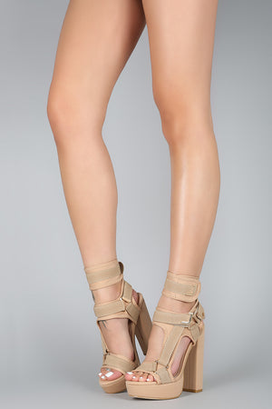 Lovely Tea | Elastic Strappy Harness Chunky Platform Heel
