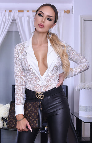 blonde girl in a see through delicate lace detail bodysuit Sheer top