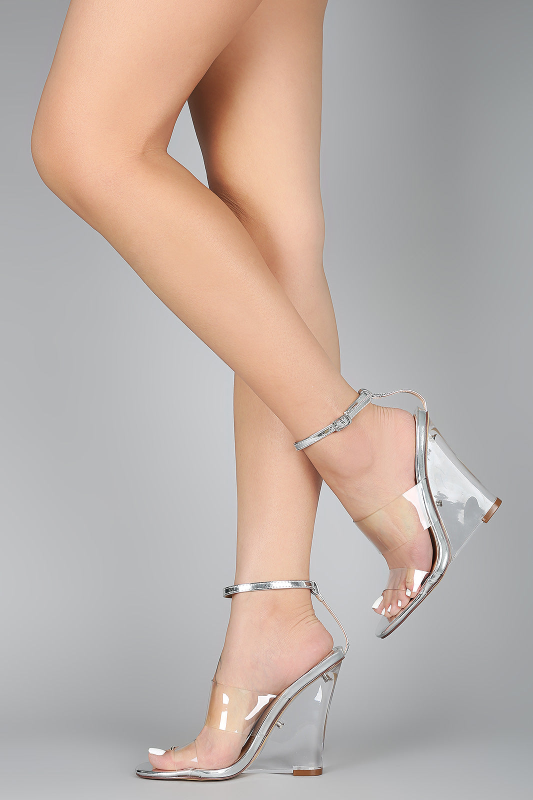 Clear Summer | Open Toe Double Band Clear Wedge