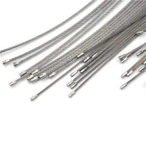 WEEKLY DEAL - 10Pcs 1.5/2mm EDC Keychain Tag Rope Stainless Steel Wire Cable Loop