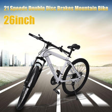 WEEKLY DEAL - 21 Speeds 26 Inch Racing Bicycle Unisex Double Disc Brakes Mountain Road Bikes waterproof Shock Absorber Mountain Cycling